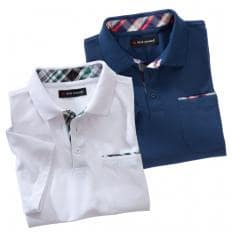 2er Set: Poloshirt mit Kontrastbesatz