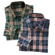 Baumwoll-Flanellhemd im Zweier-Pack