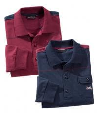 Langarm-Shirt Bordeaux + Marine im Set