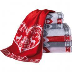 """Duschtuch """"Heart"""" - 70x130 - weiß/rot"""