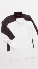 Rollkragen-Shirt Weiß