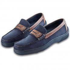 Boots-Mokassins aus Glatt-und Nubukleder