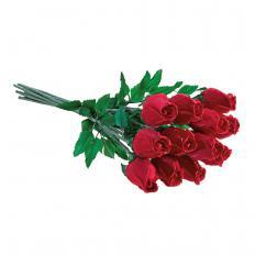 Handgefertigte Rosen aus Gänsefedern - 12 Stück