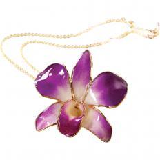 Kette mit echter Orchideenblüte