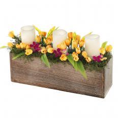 Frühlings-Deko mit LED-Kerzen