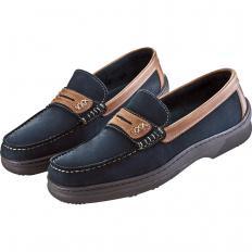 Boots-Mokassins aus Glatt- und Nubukleder