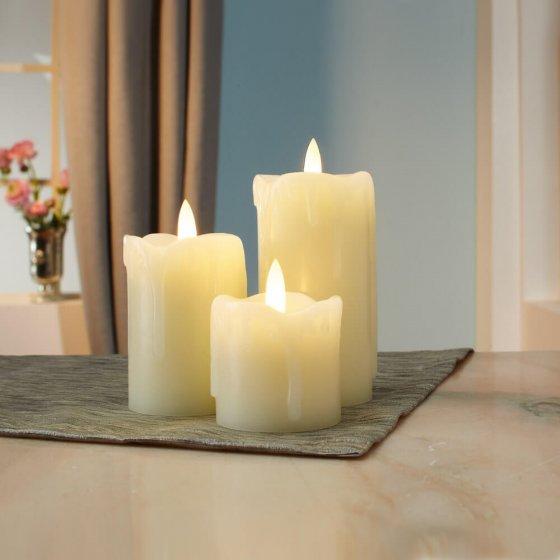 3 funkelnde LED-Kerzen