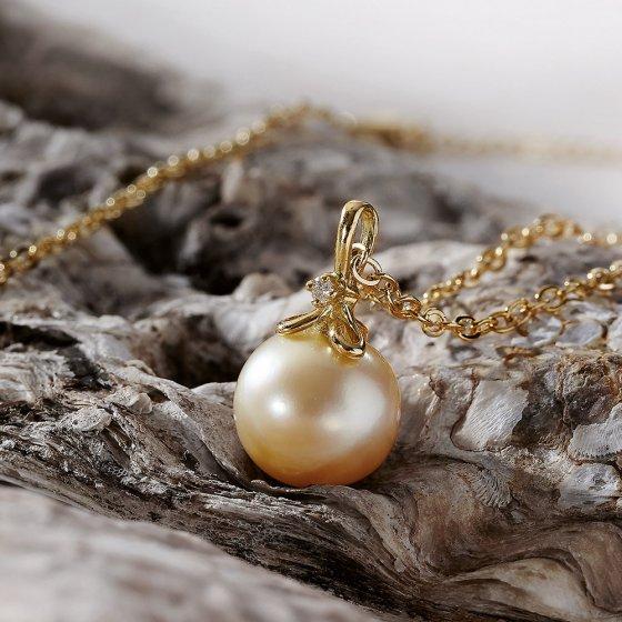 Anhänger Goldene Perle mit Diamant