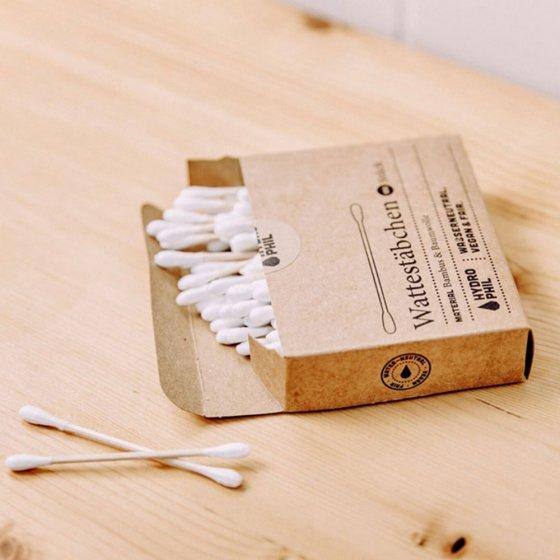 Wattestäbchen aus Bambus und Baumwolle 2er-Pack