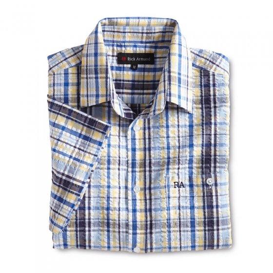 Maritimes Seersucker-Hemd,bl-r 3XL | Blau-Rot