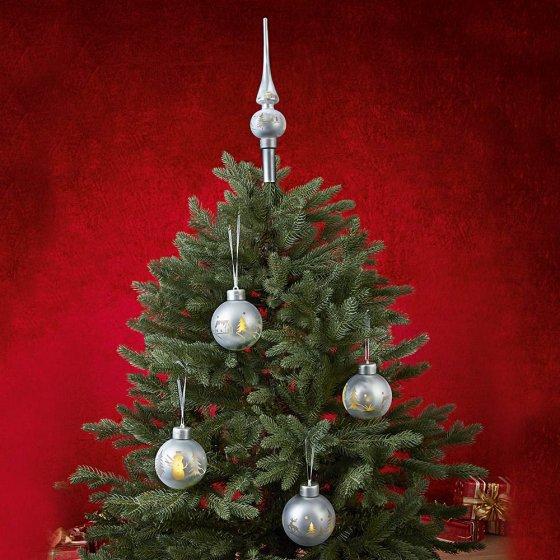 LED-Weihnachtskugeln mit Baumspitze