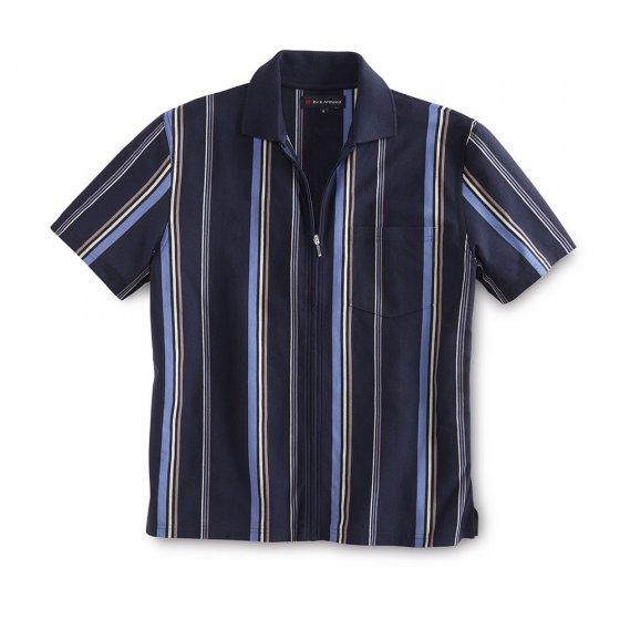 Poloshirt m. Ganzreißver.,grau XL | Grau-gestreift