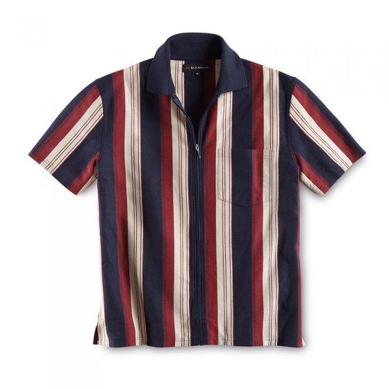 Poloshirt m. Ganzreißver.,m-ro M | Marine-Rot