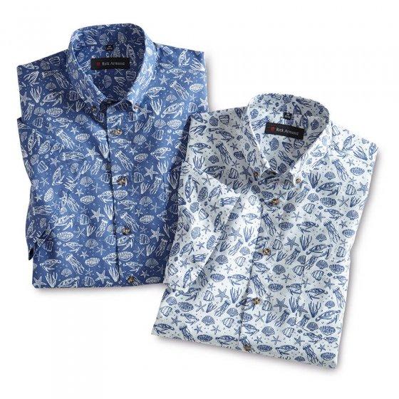 Sommerliches Druckhemd 2er-Pack M | Blau-bedruckt#Weiß-bedruckt
