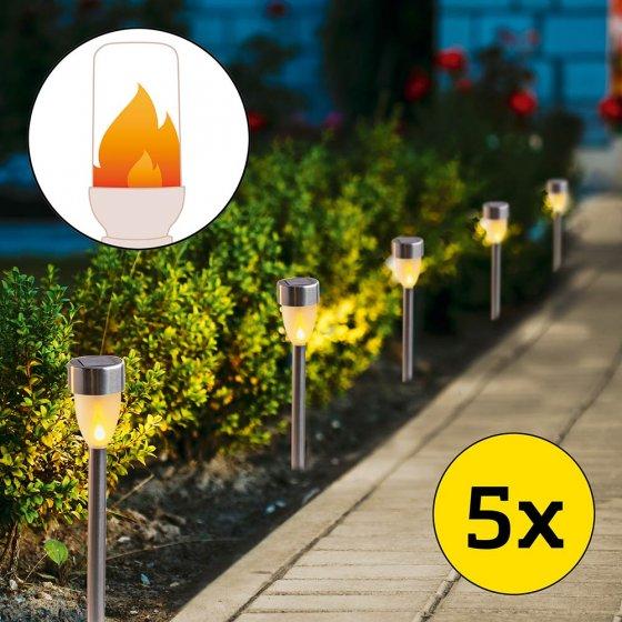 Solar-Flammenleuchtenset 5er-Set