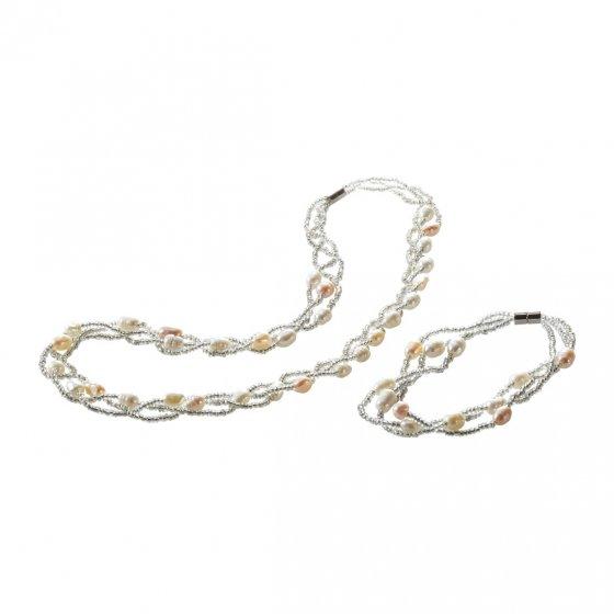 Ihr Geschenk: glamouröse Süßwasserperlenkette und Armband