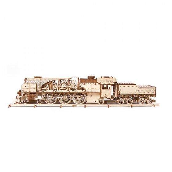 Holzmodell Dampflokomotive mit Tender
