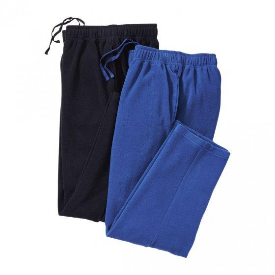 Polar-Fleece-Hosen 2er-Set XL | Schwarz#Blau