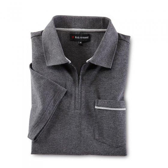 Piqué-Poloshirt mit Zipperkragen
