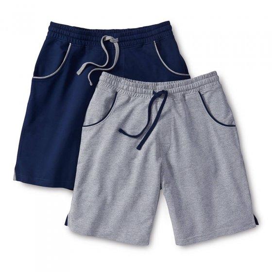 Jersey-Shorts 2er-Set XXL | Marine#Grau-meliert