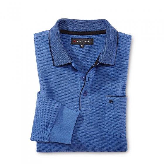 Langarm-Poloshirt, grau M | Grau