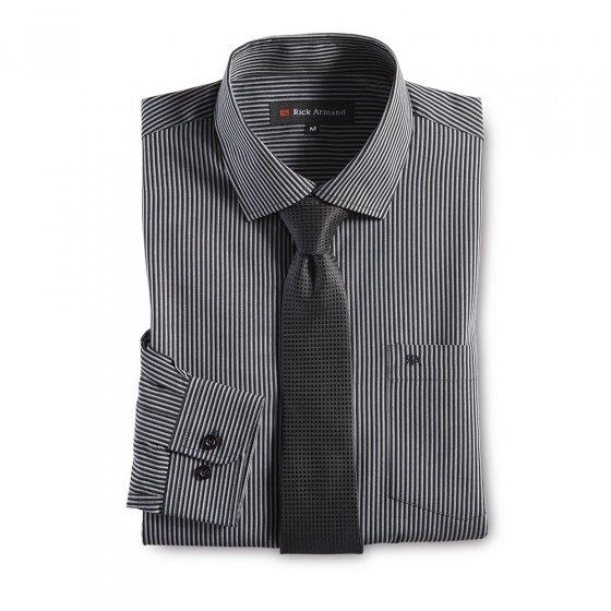 Hemd mit Krawatte, schwarz-ges XL | Schwarz-gestreift