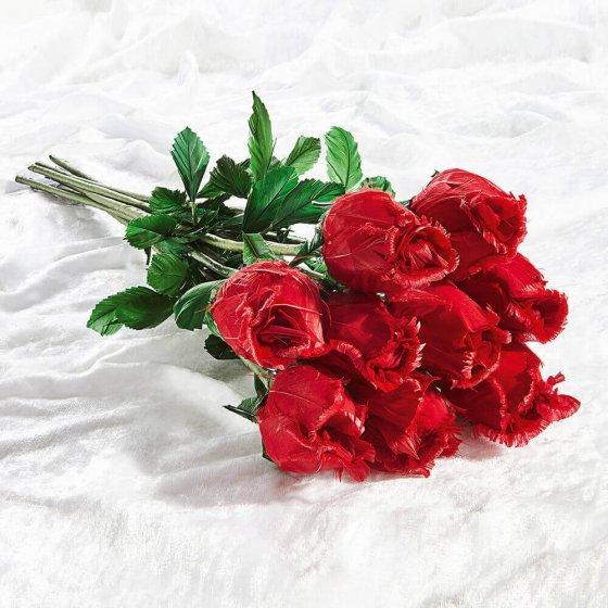 Handgefertigte Rosen aus Gänsefedern