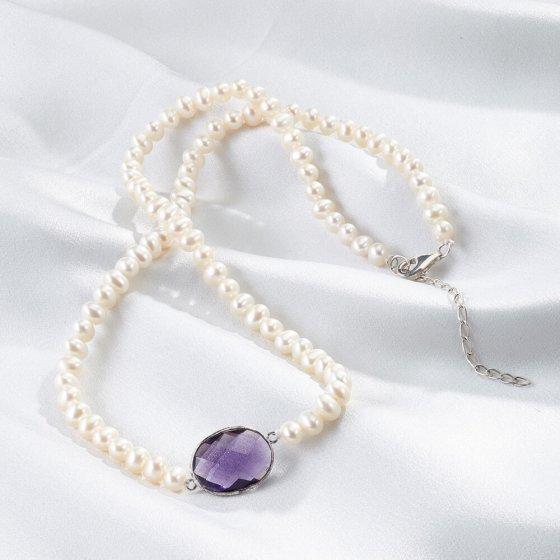 Perlencollier mit Amethyst