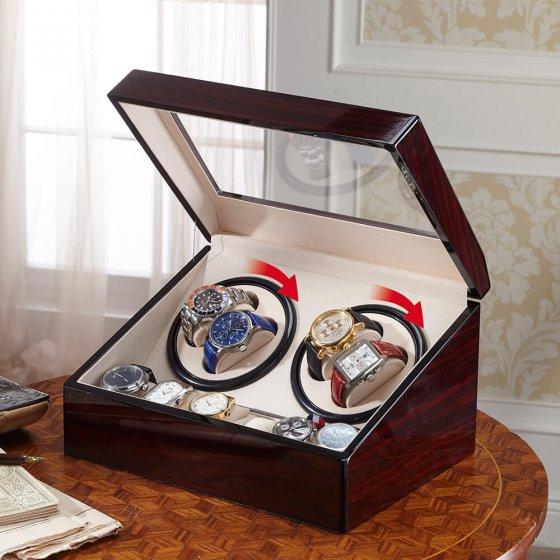 Uhrenbeweger aus Holz für 4 Uhren