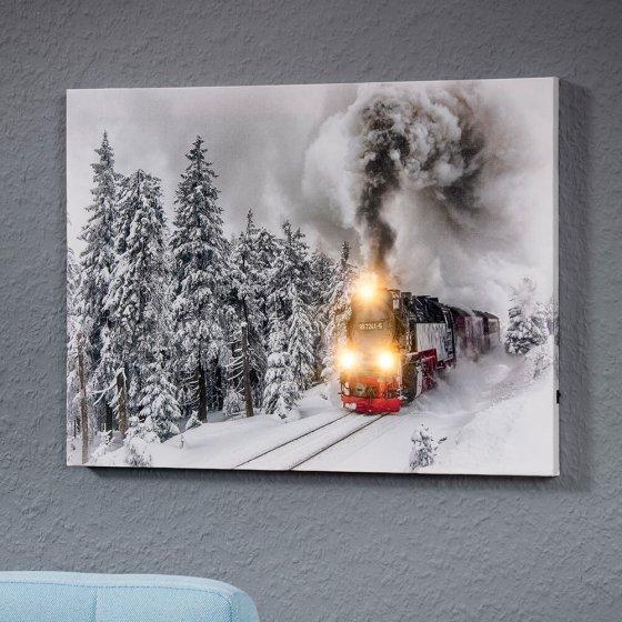 "LED-Wandbild  ""Dampflokomotive"""