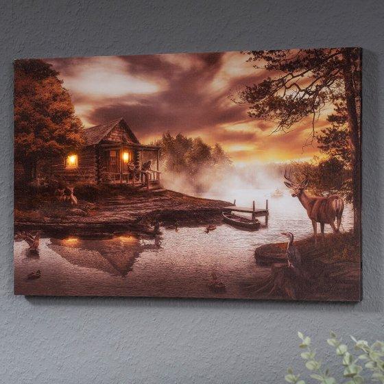 """LED-Wandbild  """"Hütte am See"""""""