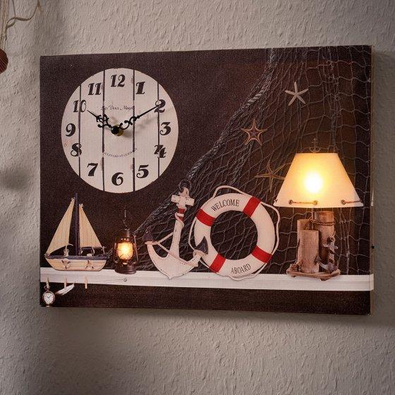 Maritimes LED-Wandbild mit Uhr
