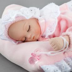 Porzellan-Babypuppe mit Spieluhr, Mädchen-2