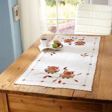 """Tischläufer mit Stickerei """"Eulen""""-2"""
