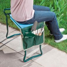 Drehbare Gartenbank mit Taschen-2