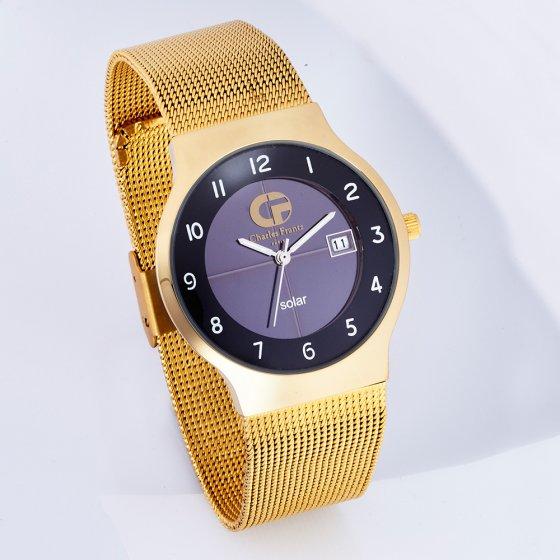"Flache Solar-Armbanduhr ""Gold"""