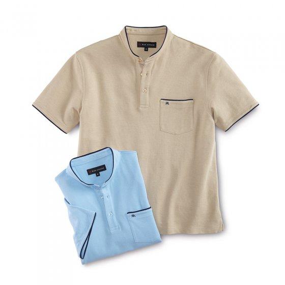 Piqué-Shirt mit Stehkragen
